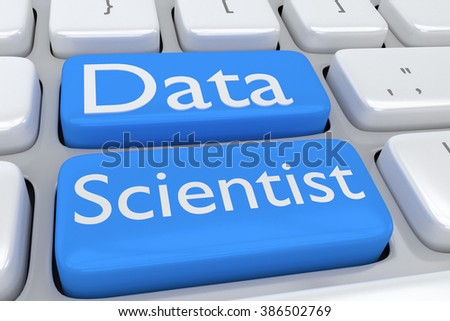 Render illustration of computer keyboard with the print Data Scientist on two adjacent pale blue buttons - stock photo