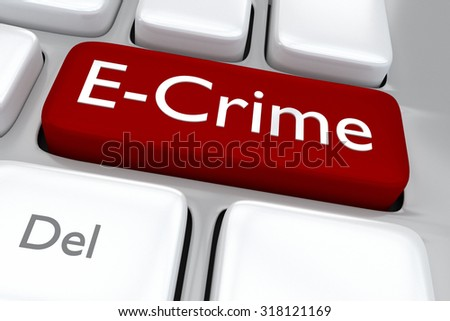 Render illustration of computer keyboard with the print E-Crime on a red button