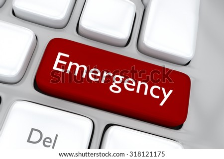 Render illustration of computer keyboard with the print Emergency on a red button - stock photo