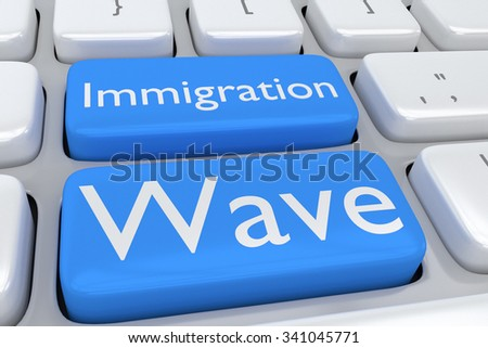 Render illustration of computer keyboard with the print Immigration Wave on two adjacent pale blue buttons