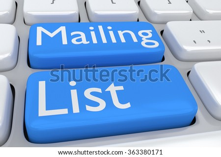 Render illustration of computer keyboard with the print Mailing List on two adjacent pale blue buttons - stock photo