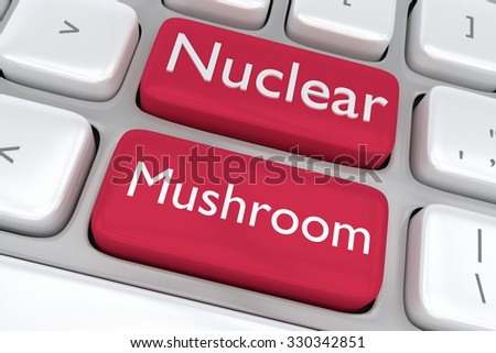 Render illustration of computer keyboard with the print Nuclear Mushroom on two adjacent red buttons - stock photo