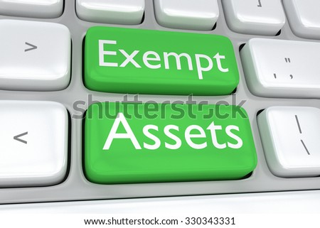 Render illustration of computer keyboard with the print of Exempt Assets on two adjacent green buttons - stock photo