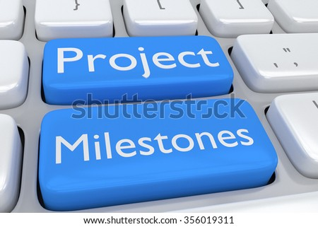 Render illustration of computer keyboard with the print Project Milestones on two adjacent pale blue buttons - stock photo