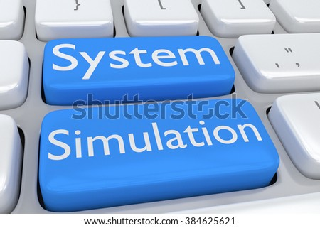 Render illustration of computer keyboard with the print System Simulation on two adjacent pale blue buttons - stock photo