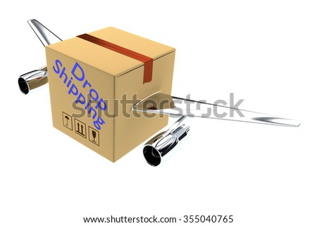 Render illustration of Drop Shipping title on a Carton with two airplane wings, isolated on white. - stock photo