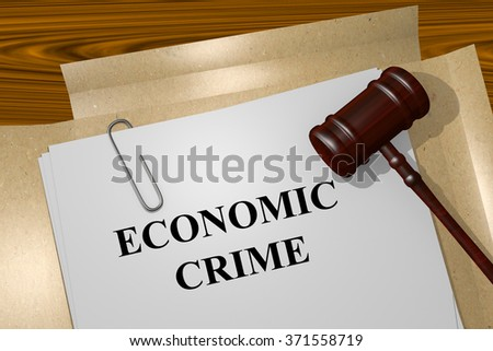 Render illustration of Economic Crime title on Legal Documents