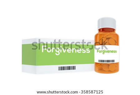 Render illustration of Forgiveness title on pill bottle, isolated on white. - stock photo