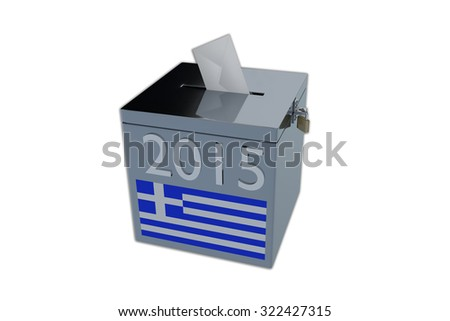 Render illustration of Greek 2015 election ballot box, isolated on white. - stock photo