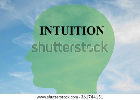 Render illustration of Intuition title on head silhouette, with cloudy sky as a background - stock photo