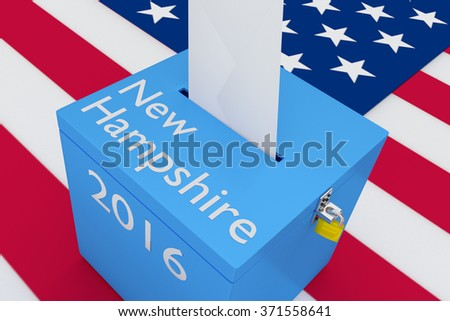 Render illustration of New Hampshire, 2016 titles on ballot box, with US flag as a background. - stock photo