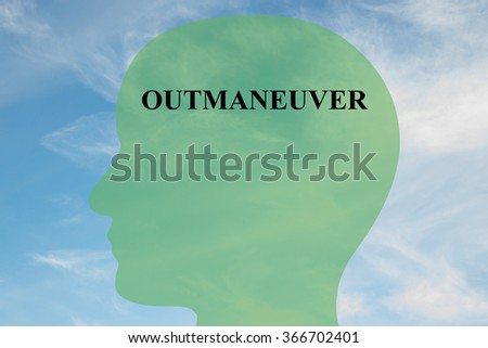 Render illustration of Outmaneuver title on head silhouette, with cloudy sky as a background - stock photo