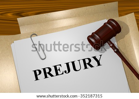Render illustration of Perjury title On Legal Documents - stock photo