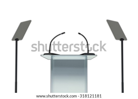 Render illustration of podium with two microphones and two display stands, isolated on white - stock photo