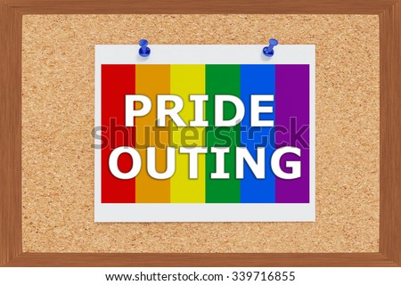 Render illustration of Pride Outing Title above Pride falg on cork board - stock photo