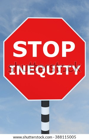 Render illustration of Stop Inequity title on road STOP sign - stock photo