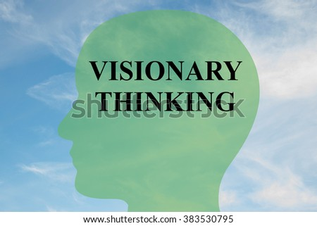Render illustration of Visionary thinking title on head silhouette, with cloudy sky as a background - stock photo