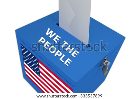 Render illustration of We the People title on ballot  box, isolated on white. - stock photo