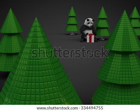 render illustration panda fluffy furry teddy bear sitten between christmas trees and opens white gift box with red ribbon knot bow tie three dimensional spruce new year forest bear character on dark - stock photo