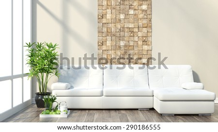 Render modern interior with sofa and a large window - stock photo