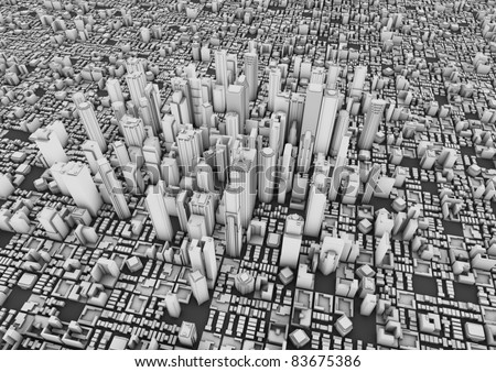 render of a big city - stock photo