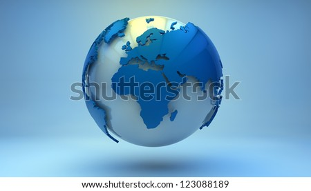 render of a blue world globe showing europe, africa and middle east - stock photo
