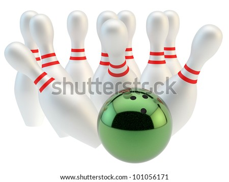 render of a bowling ball and pins - stock photo