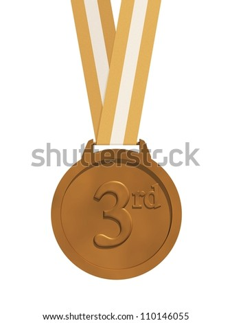 Render of a bronze medal with strap isolated on a white background - stock photo