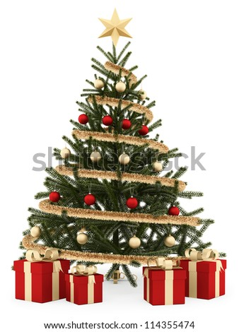 render of a Christmas tree with gift boxes, isolated on white