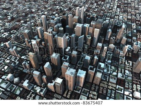 render of a city at dusk - stock photo