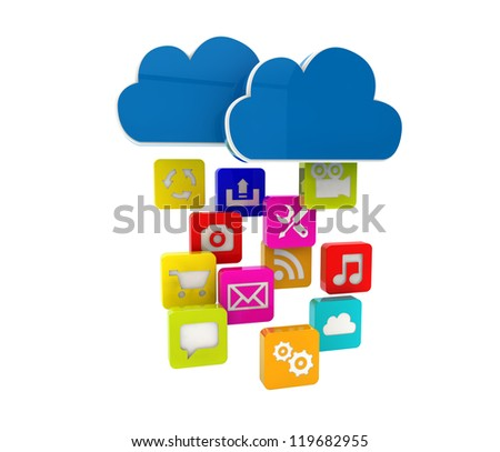 render of a cloud and apps