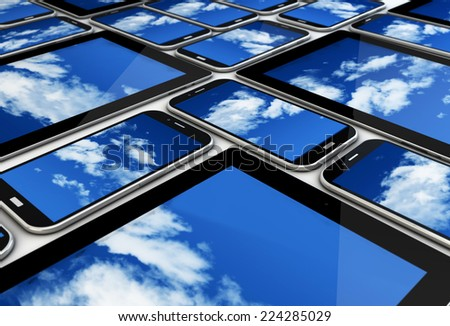 render of a collection of devices with cloud on the screen; cloud concept - stock photo