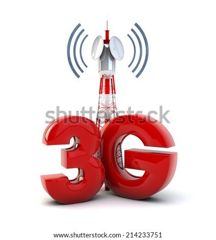 render of a communication tower and the text 3g - stock photo