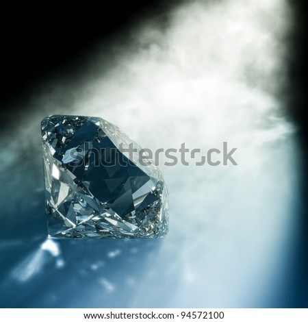 render of a diamond hit by light - stock photo