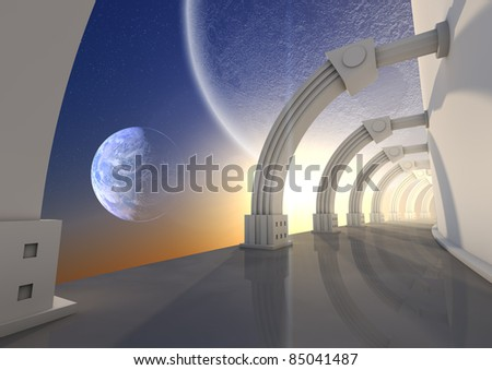 render of a futuristic hallway in space - stock photo