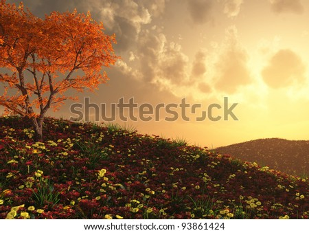 render of a gorgeous flower filled hillside view - stock photo