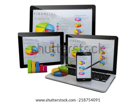 render of a group of devices with financial graphs - stock photo
