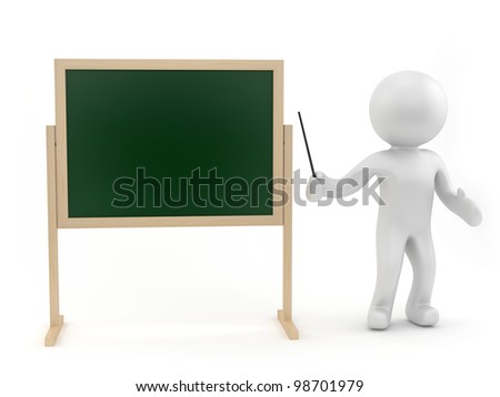 render of a human at the chalkboard - stock photo