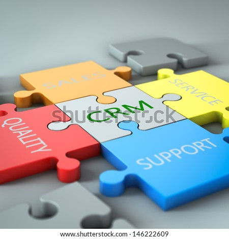 render of a jigsaw with business text written on it - stock photo