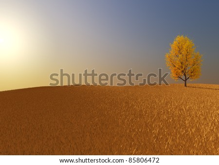 render of a lonely tree in a field - stock photo