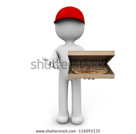render of a man delivering pizza - stock photo