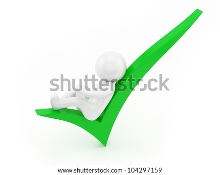 render of a man lying on a check mark