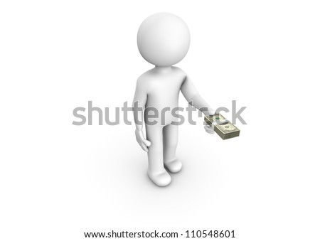 Render of a man paying