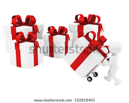 render of a man with a hand truck and many gift boxes , isolated on white - stock photo