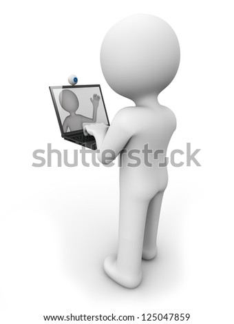 render of a man with a laptop doing a videoconference