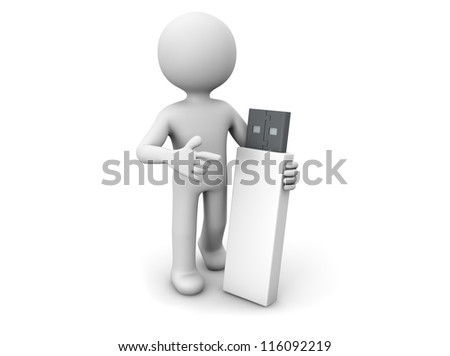 render of a man with an usb