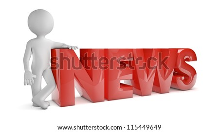 render of a man with the word news