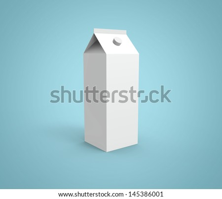 render of a milk packaging on blue background - stock photo