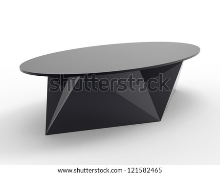 Render of a origami style coffee table with a white background