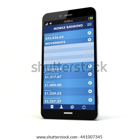 render of a phone with online banking on the screen isolated. Screen graphics are made up. 3d rendering - stock photo